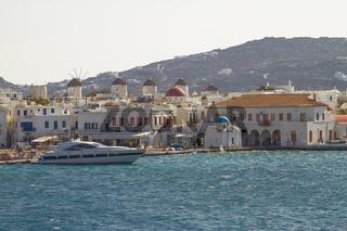 MYKONOS, GREECE - SEPTEMBER 13 2010: Mediterranean Island of Mykonos Greece During a Turists Season