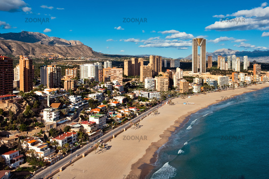 Coastline of a Benidorm city. Benidorm is a modern resort city, one of the most popular travel destinations in Spain. Costa Blanca, Alicante