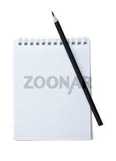 notebook and a black pencil