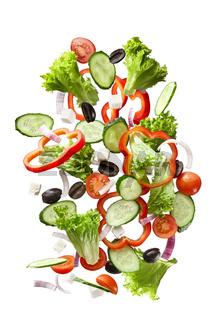 flying salad isolated on white background