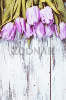 Lilac tulips over wooden table