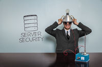 Server security text with vintage businessman