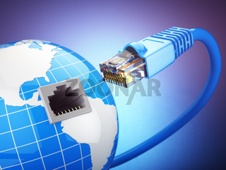 Internet global comunication concept. Earth and ethernet cable on blue background.