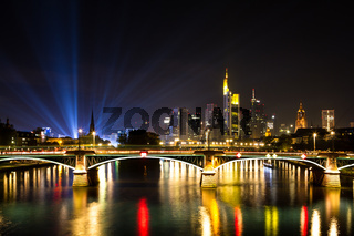 Light beams over the city of Frankfurt