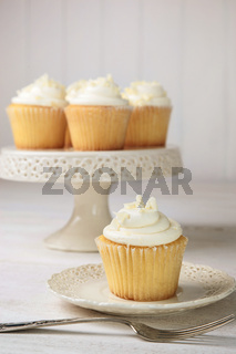 Vanilla cupcakes ready to eat