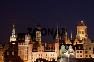 City Skyline of Gdansk by Night in Poland