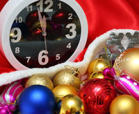 Clock and christmas balls and toys