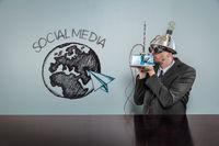 Social media text with vintage businessman