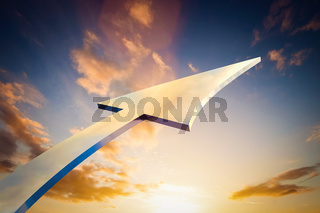 Abstract arrow pointing, growing to the sky. Conceptual growth, bright future,