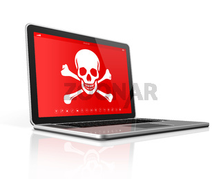 Laptop with a pirate symbol on screen. Hacking concept
