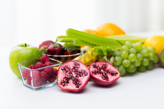 close up of fresh fruits and berries on table