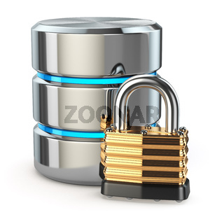 Database storage security concept. Disk with lock,