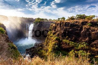 The Victoria falls with dramatic sky