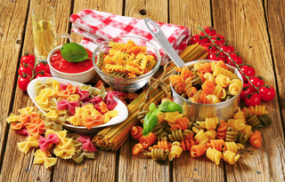Assortment of colored pasta