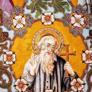 Old embroidered religious icon with Apostle Saint Thomas