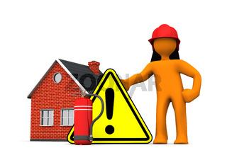 Fireman House Extinguisher Warning