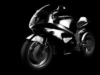 luxury sportbike in dark studio