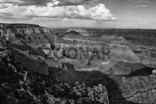 amazing grand canyon national park north rim arizona USA (black and white)