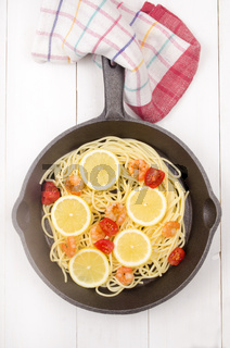 spaghetti with prawns, tomato and lemon