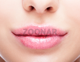 Closeup shot of plump female lips