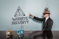 Website security text with vintage businessman