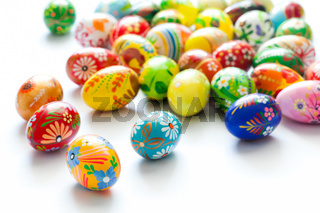Hand painted Easter eggs isolated on white. Floral
