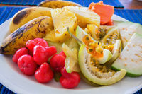 Plate with exotic friuts