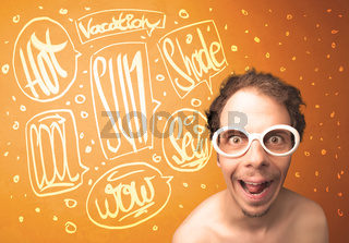 Cool teenager with summer sun glasses and vacation typography