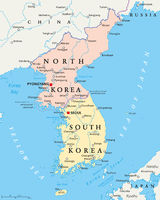 Nordkorea und Südkorea politische Karte