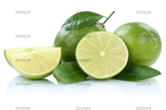 Limone Limette Limonen Limetten Früchte Freisteller freigestellt isoliert