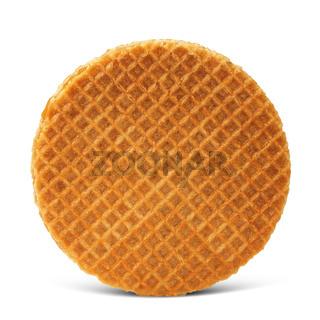 Waffle with caramel isolated on white background
