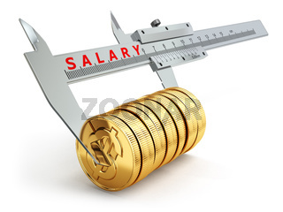 Small salary concept. Caliper measuring coins with dollar sign.