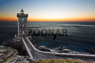 Kermorvan Lighthouse after sunset, Brittany, France