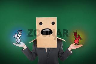 Composite image of shrugging businessman