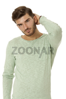 young man in casual fashion on white