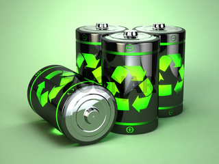Green battery recycling concept.