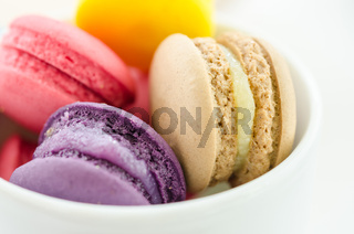 Colorful sweet macaroons.