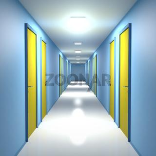 Corridor with closed doors