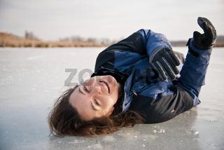 Winter fun - lying on ice