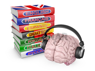 brain with headphones and books