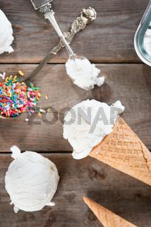 Top view milk ice cream cone