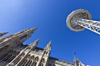 Low angle shot of the Vienna City Hall with the observation platform Skyliner