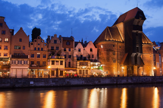 The Crane in Old Town of Gdansk at Dusk