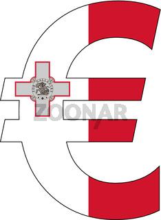 euro with flag of malta