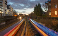 Early evening fast trains, Clapham, London, United Kingdom