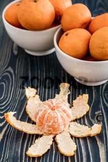 Ripe Juicy Mandarin Fruits in White Bowls