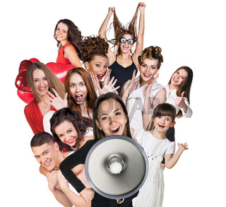 Young happy people and woman with loudspeaker