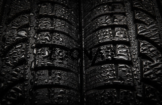 Close-up texture of tires with water drops