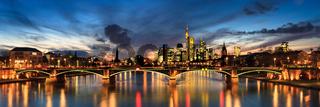 Panorama of the skyline Frankfurt am Main at twilight