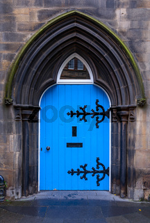 Old wooden blue door